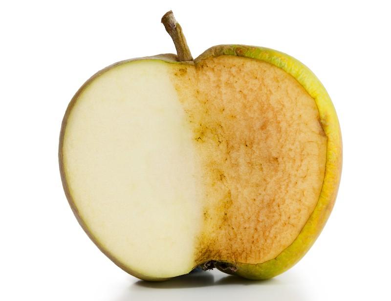 pomme en deux